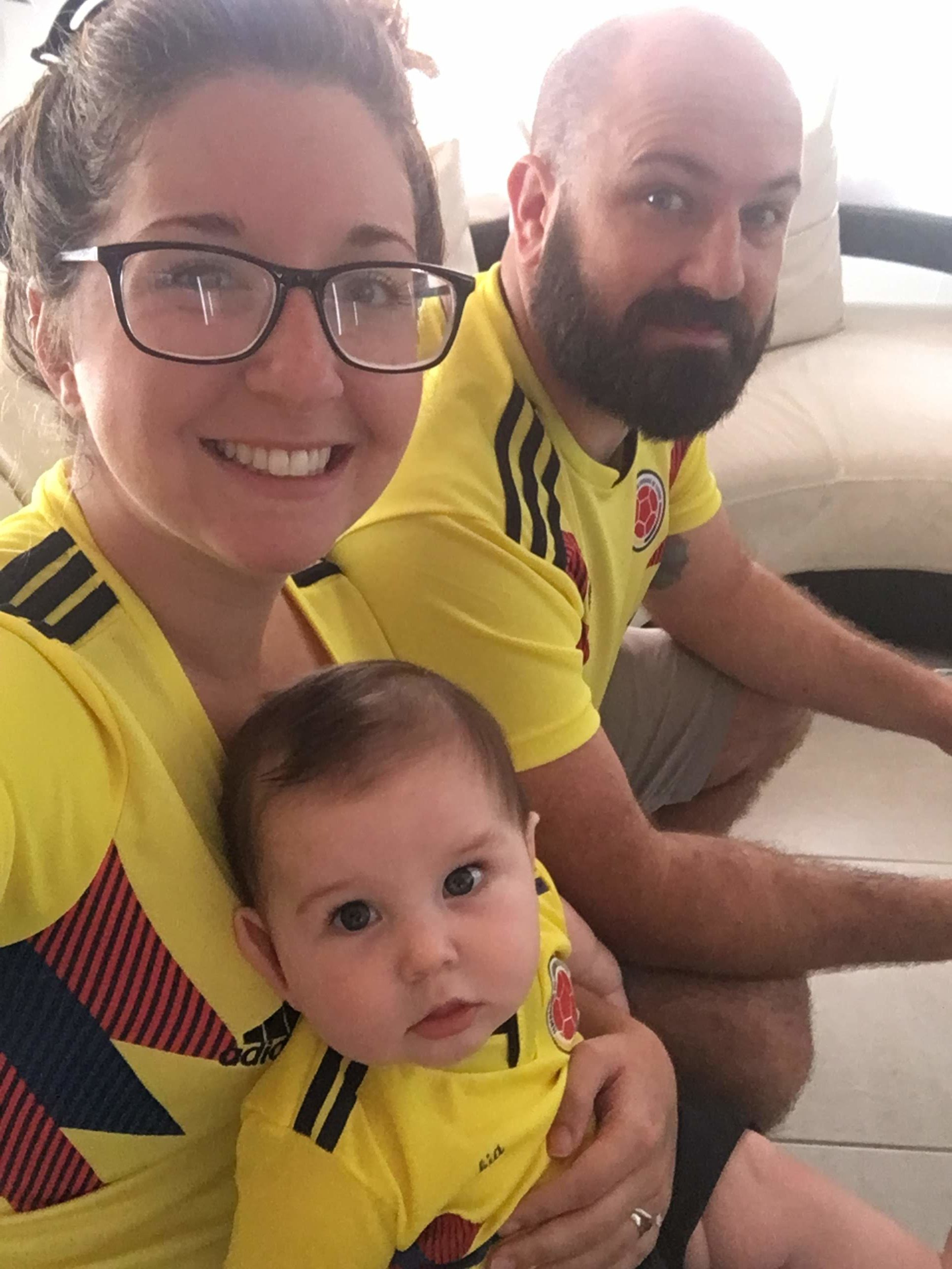 Matthew, Bob, and St. Pete Doula wearing Colombia jerseys during World Cup 2018